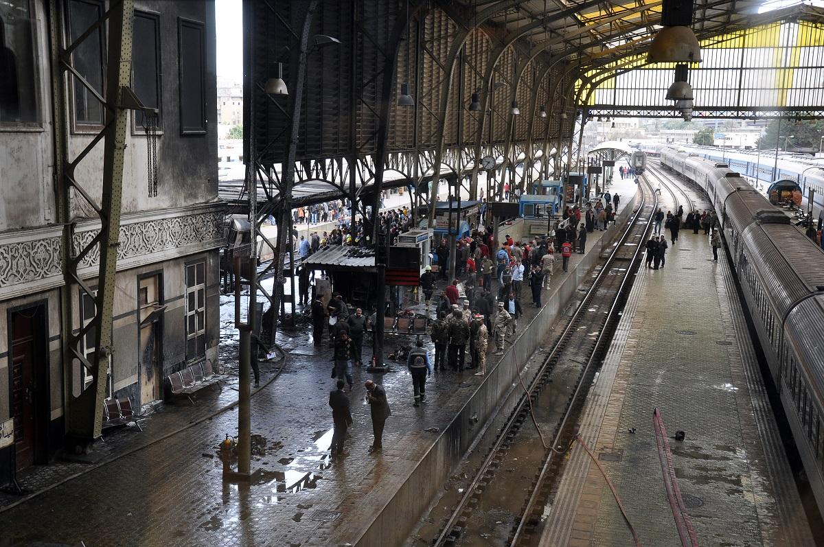 """محطة السكة الحديدية في رمسيس""""محطة مصر"""" عقب الحادث (حسام علي- إندبندنت عربية)"""
