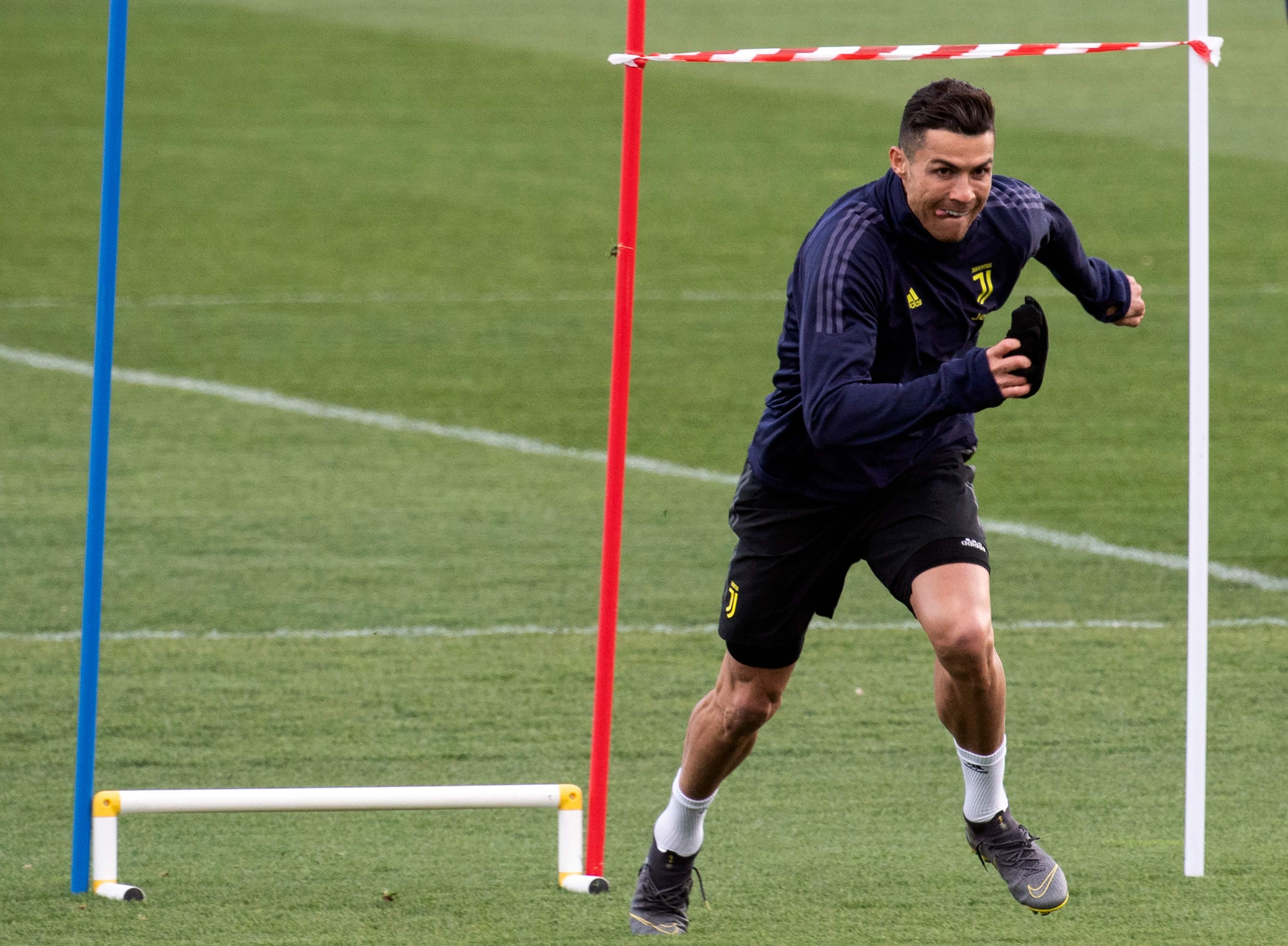 البرتغالي كريستيانو رونالدو في تدريبات يوفنتوس11 مارس (آذار) 2019 . (أ.ف.ب)
