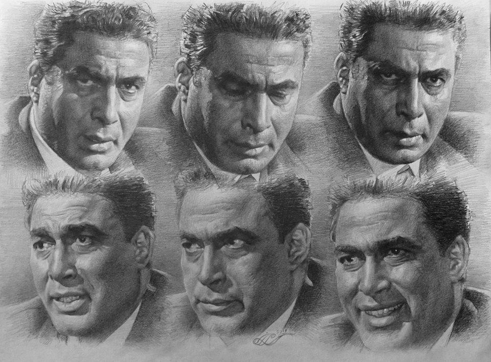 الفنان الراحل أحمد زكي صاحب الوجوه المتعددة. (عمل فني بالقلم الرصاص. محمود مدني)