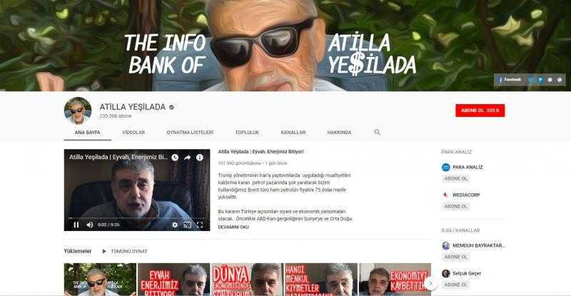 قناة الخبير الاقتصادي أتيلّا يشيلادا على يوتيوب (إندبندنت تركية)