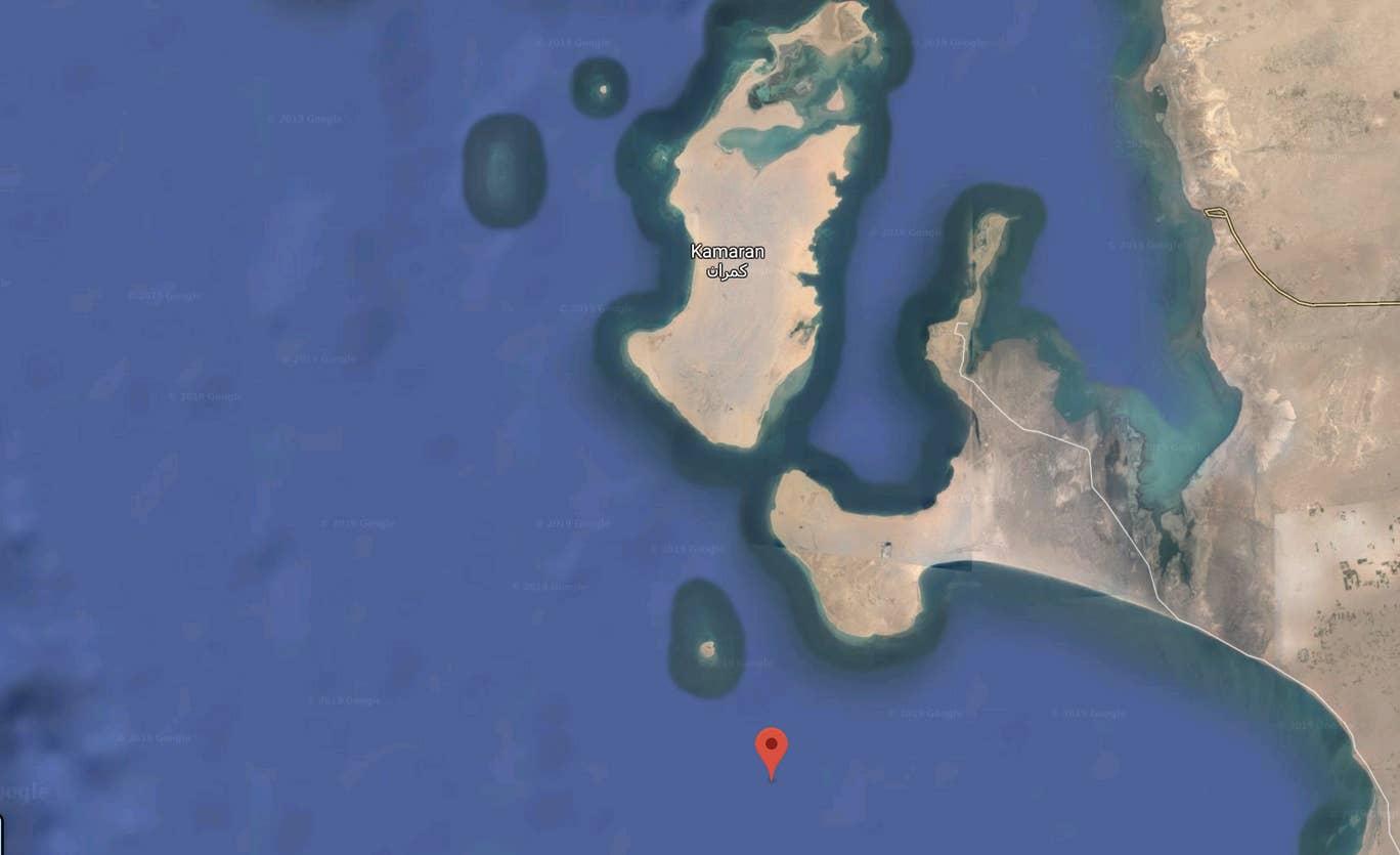 """لقطة لموقع السفينة """"صافر"""" كما يبدو على خارطة موقع غوغل (عن محرك غوغل)"""
