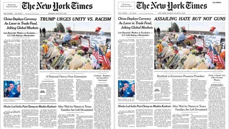 """العنوان الرئيسي في """"نيويورك تايمز"""" قبل وبعد تغييره"""