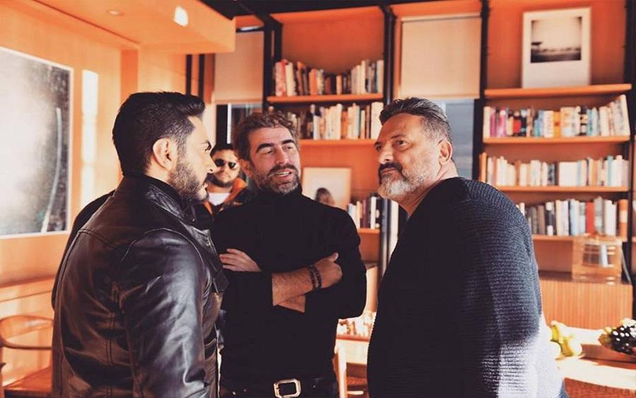 سعيد الماروق مع تامر حسني وخالد الصاوي في كواليس فيلم الفلوس.jpg
