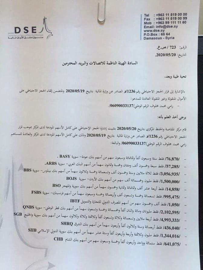 الوثيقة التي أصدرتها وزارة المال السورية عن ممتلكات رامي مخلوف