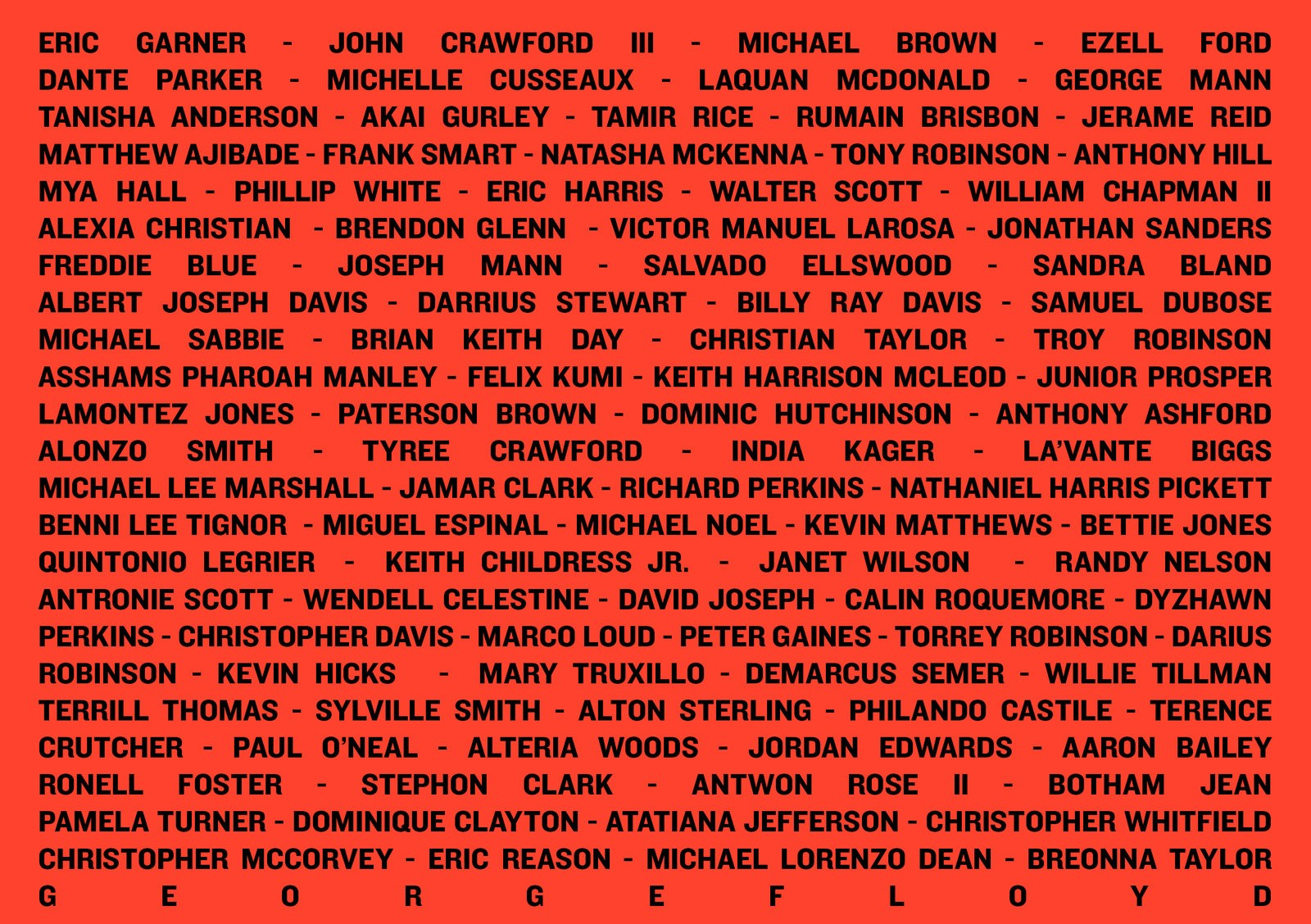 قائمة بضحايا الأميركيين الأفارقة على يد الشرطة منذ مقتل إريك غارنر عام 2014 (ان بي آر).jpg