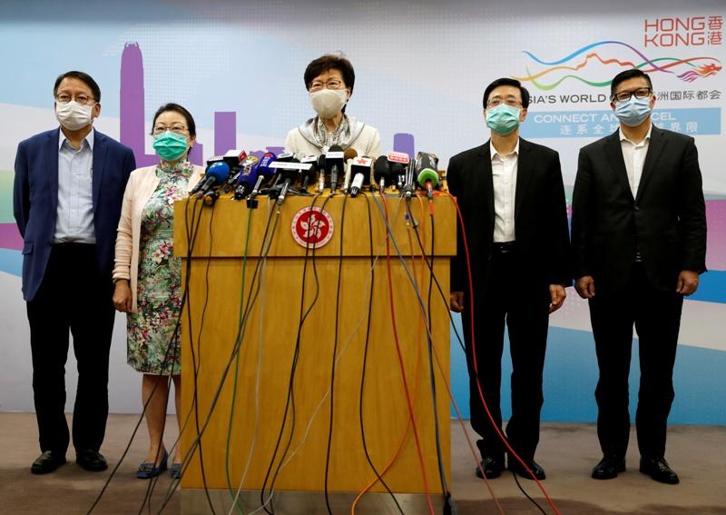 """حضر """"قانون الأمن الوطني"""" في محادثات كاري لام، رئيسة السلطة التنفيذية في هونغ كونغ، مع سلطات بكين أخيراً"""