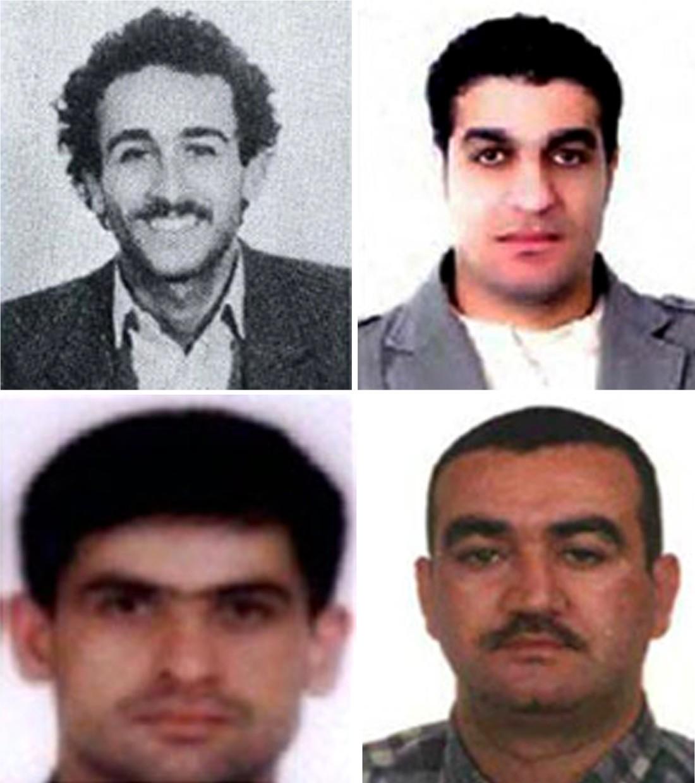 """عناصر """"حزب الله"""": أسعد صبرا ومصطفى بدر الدين وسليم عياش وحسين عنيسي (أ ف ب)"""