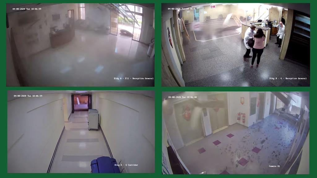 صور من نظامر المراقبة في مستشفى رزق تظهر لحظة انفجار بيروت والأضرار التي خلفها (ريوتيز)