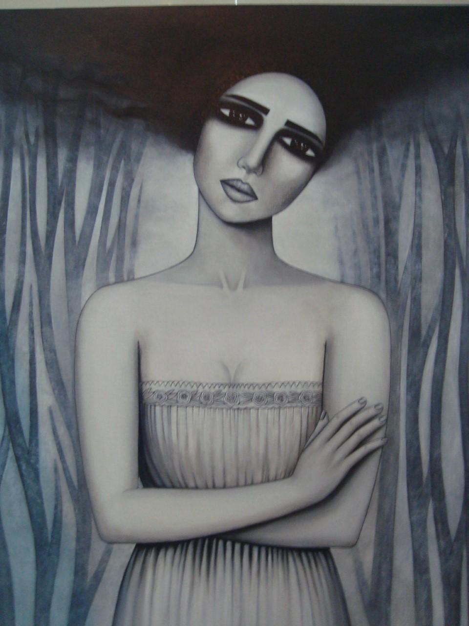 لوحة الفنانة سنا أتاسي في معرض الخريف السنوي بخان أسعد باشا بدمشق.jpg