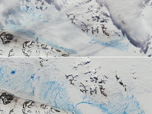 صورة مقارنة لبرك مائية غير مسبوقة في ثاني أكبر نهر جليدي في القارة القطبية الجنوبية عام 2020 مقارنة بصورة الموقع نفسه قبل عامين