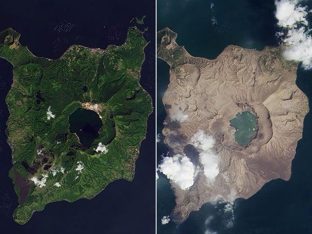 """رماد خلفه انفجار بركان """"تال"""" في جزيرة """"لوزون"""" الفيليبينية (ناسا)"""