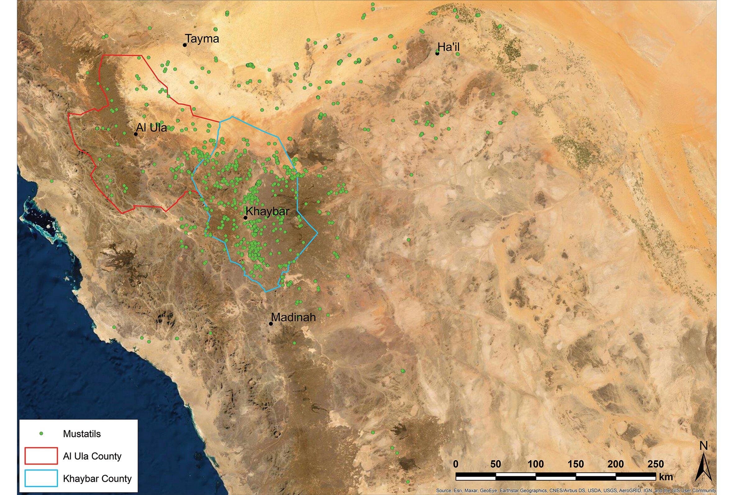 توزيع المستطيلات في شمال غرب الجزيرة العربية (الهيئة الملكية بالعلا)