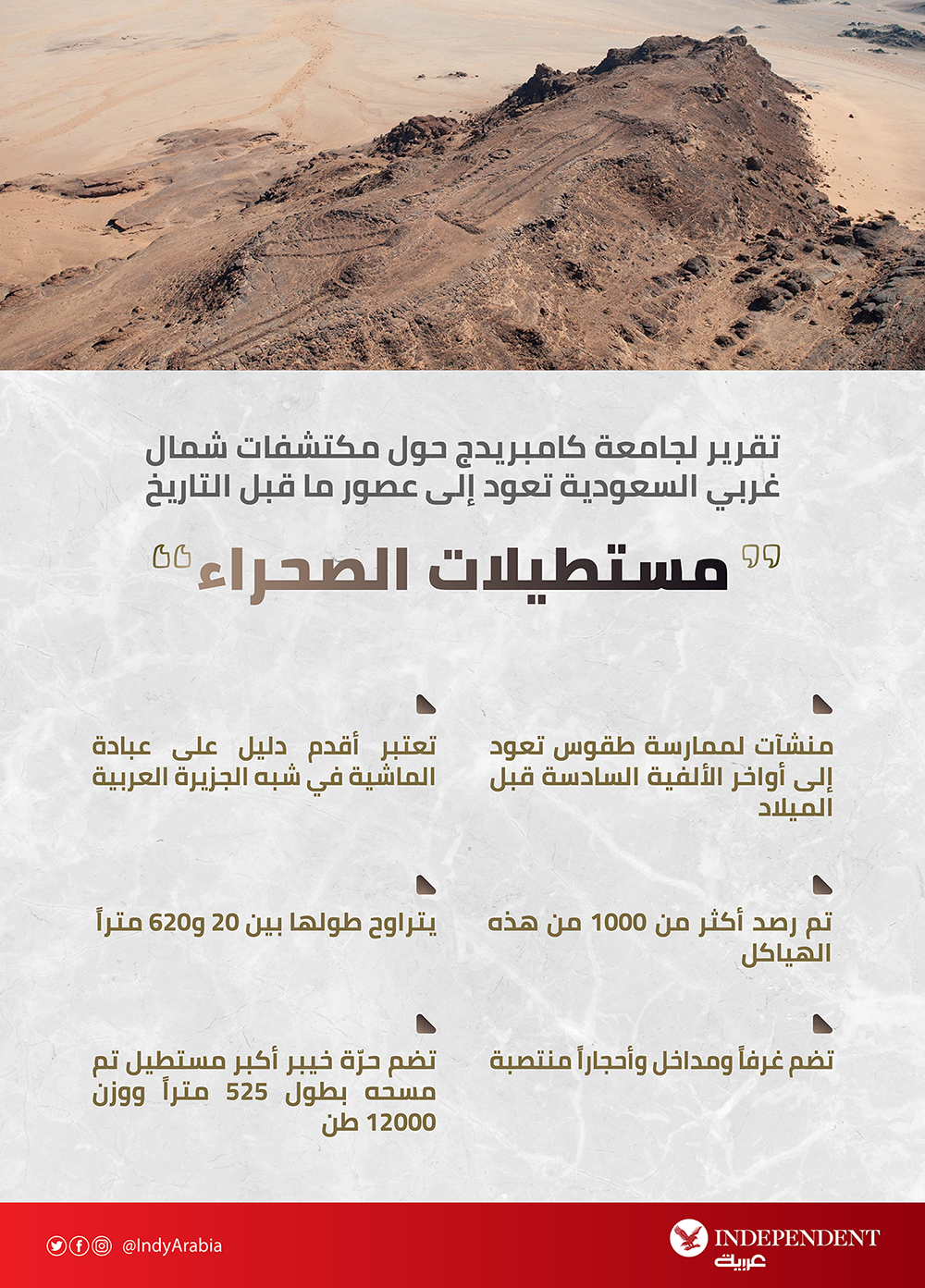 Cambridge Üniversitesi, Suudi Arabistan'ın kuzeybatısındaki tarih öncesi çağlardan kalma keşifler hakkında rapor veriyor