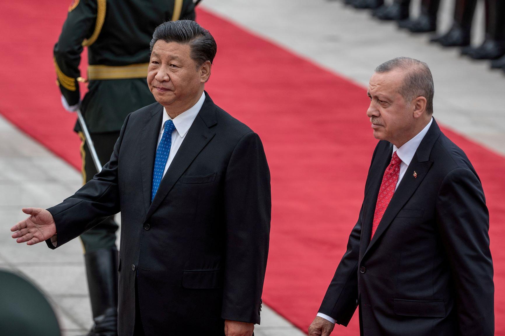 """يندرج الرئيس الصيني تشي جين بينغ (إلى اليسار) والتركي رجب طيب أردوغان، ضمن نظم تنأى عن الديمقراطية لمصلحة مفهوم """"الزعيم القوي"""""""