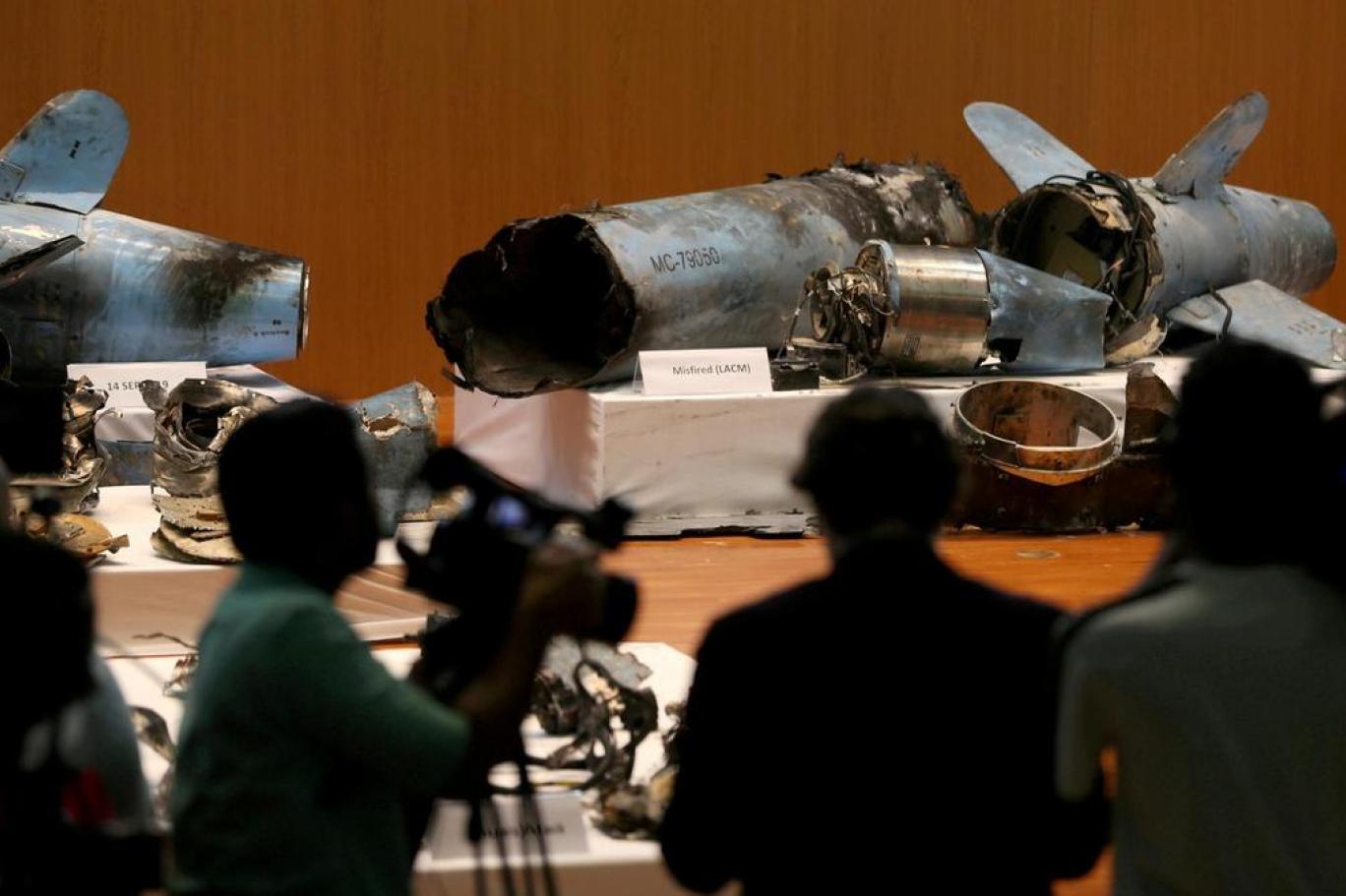 بقايا الصواريخ التي استهدفت منشآت أرامكو في 2019 (رويترز)